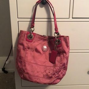 Coach Pink Signature Jacquard Purse